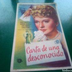 Cine: PROGRAMA DE CINE SIMPLE. CARTA DE UNA DESCONOCIDA. CINES KURSAAL Y CATALUÑA DE MANRESA. Lote 197195406