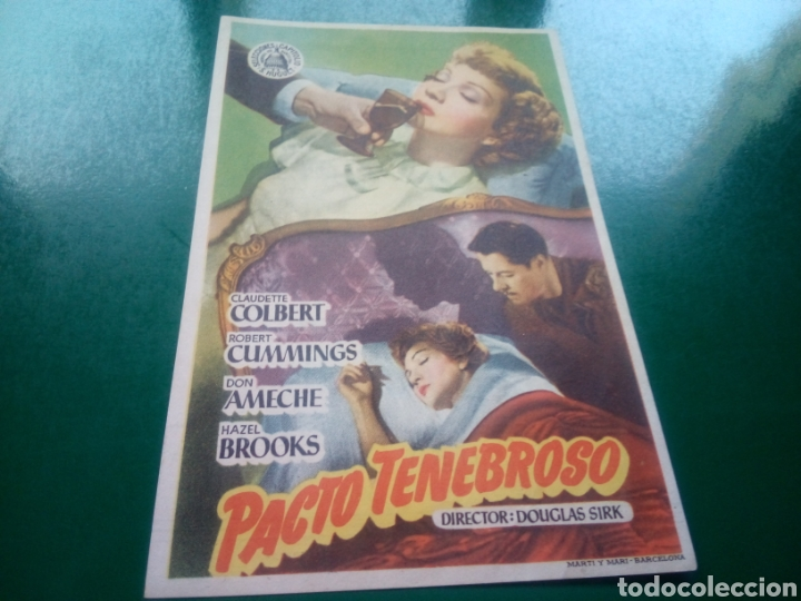 PROGRAMA DE CINE SIMPLE. PACTO TENEBROSO . CINES OLIMPIA Y CATALUÑA DE MANRESA (Cine - Folletos de Mano - Suspense)