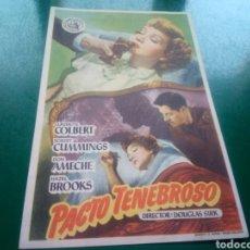 Cine: PROGRAMA DE CINE SIMPLE. PACTO TENEBROSO . CINES OLIMPIA Y CATALUÑA DE MANRESA. Lote 197195722