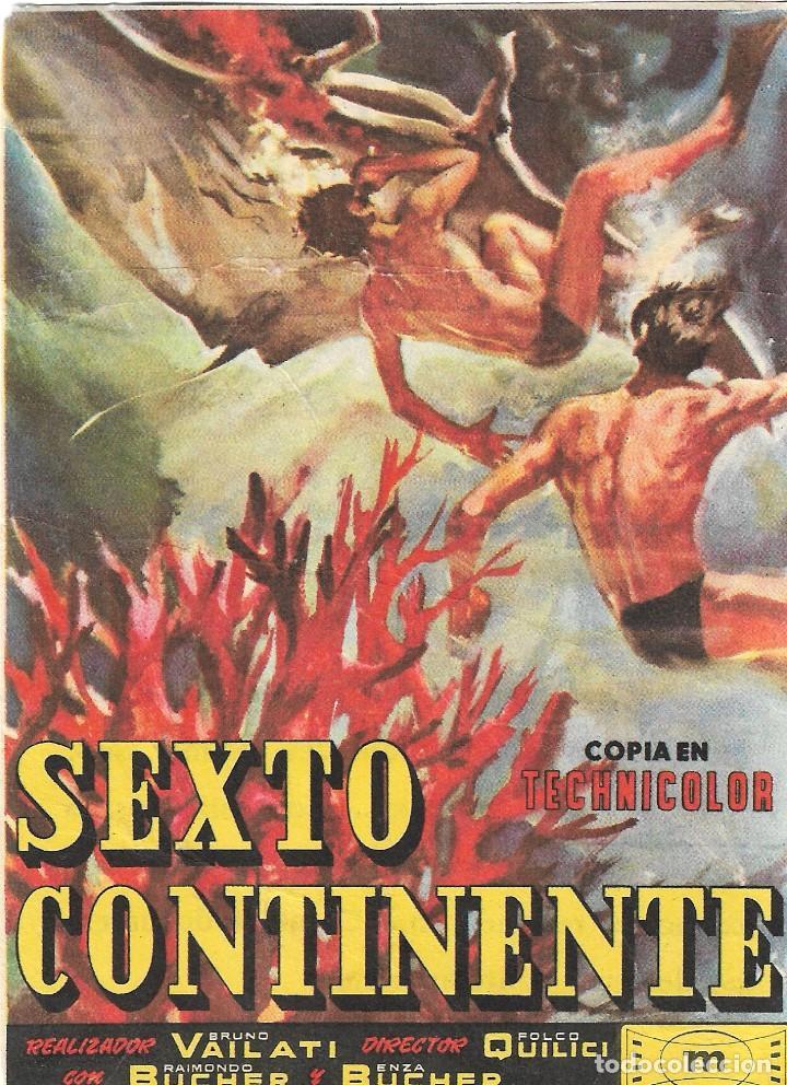 PROGRAMA DE CINE - SEXTO CONTINENTE - COLISEO LUCENA (LUCENA, CÓRDOBA) - 1956. (Cine - Folletos de Mano - Documentales)