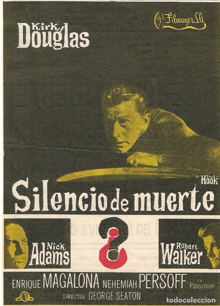 PROGRAMA DE CINE - SILENCIO DE MUERTE - KIRK DOUGLAS, ROBERT WALKER - TEATRO CINE ROYAL (MÁLAGA) (Cine - Folletos de Mano - Bélicas)
