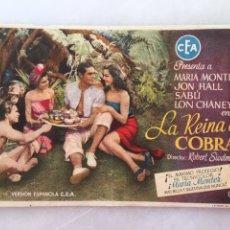 Cine: LA REINA COBRA FOLLETO DE MANO CEA CON MARIA MONTEZ TEATRO CINE VILLAMARTA. Lote 197448161