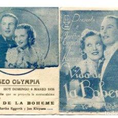 Cine: VIDA DE LA BOHEME, CON MARTHA EGGERTH.. Lote 197449843
