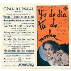 Cine: YO DE DÍA TÚ DE NOCHE, CON KATE DE NAGY.. Lote 197453570