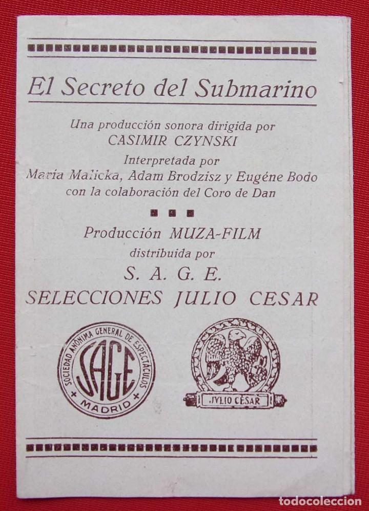 PROGRAMA CUADRUPLE. EL SECRETO DEL SUBMARINO. AÑOS 30. (Cine - Folletos de Mano - Bélicas)