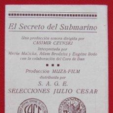 Cine: PROGRAMA CUADRUPLE. EL SECRETO DEL SUBMARINO. AÑOS 30.. Lote 197802695
