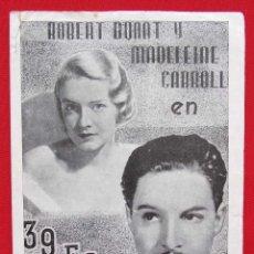 Cine: PROGRAMA DOBLE ATLANTIC. 39 ESCALONES. ALFRED HITCHCOCK. ROBERT DONAT. MADELEINE CARROLL.. Lote 197805041