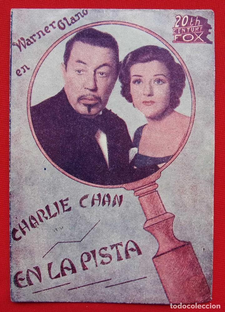 PROGRAMA DOBLE. EN LA PISTA. CHARLIE CHAN. 20 TH CENTURY FOX. WARNER OLAND. (Cine - Folletos de Mano - Suspense)