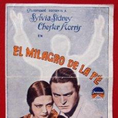 Cine: PROGRAMA DOBLE. EL MILAGRO DE LA FE. TEATRO PRINCIPAL. BURGOS. SYLVIA SIDNEY. CHESTER MORRIS.. Lote 197815135