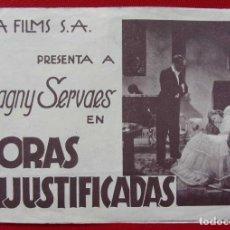 Cine: PROGRAMA DOBLE. HORAS INJUSTIFICADAS. AÑOS 30. DAGNY SERVAES. JUCA FILMS. . Lote 197830847