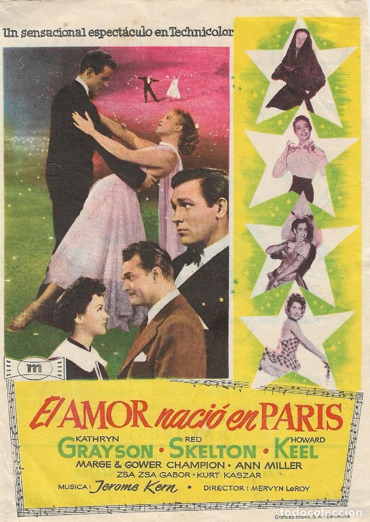 PROGRAMA DE CINE - EL AMOR NACIÓ EN PARÍS - KATHRYN GRAYSON, HOWARD KEEL - CINE VICTORIA (MÁLAGA) (Cine - Folletos de Mano - Musicales)
