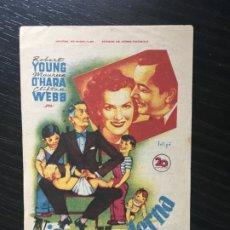 Folhetos de mão de filmes antigos de cinema: NIÑERA MODERNA - PROGRAMA DE CINE BADALONA C/P 1950. Lote 197925907