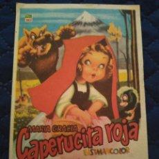 Cine: PROGRAMA CINE CAPERUCITA ROJA IDEAL CINEMA ALGUEÑA. ALICANTE. Lote 197958072