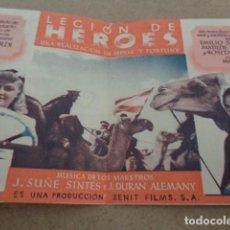 Cine: LEGION DE HEROES. CINE GOYA 1943. ZENIT PRODUCCIONES. PROGRAMA DOBLE.. Lote 197975543