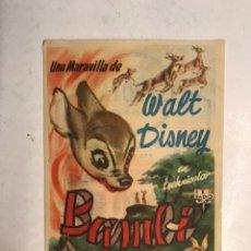 Cine: CINE SABOYA CASTELLÓN. BAMBI, WALT DISNEY, FOLLETO DE MANO (A.1950). Lote 198248700