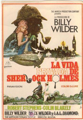 LA VIDA PRIVADA DE SHERLOCK HOLMES PROGRAMA SENCILLO CB BILLY WILDER CHRISTOPHER LEE (Cine - Folletos de Mano - Suspense)