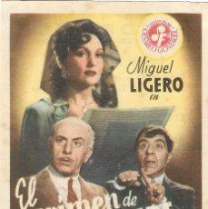 Folhetos de mão de filmes antigos de cinema: PROGRAMA DE CINE - EL CRIMEN DE PEPE CONDE - MIGUEL LIGERO- CINE MODERNO (MÁLAGA) - 1946.. Lote 198458967