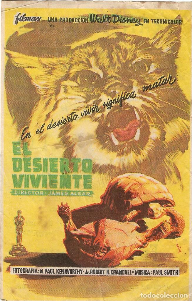 PROGRAMA DE CINE - EL DESIERTO VIVIENTE - WALT DISNEY - GRAN ALBÉNIZ (MÁLAGA) - 1953. (Cine - Folletos de Mano - Documentales)