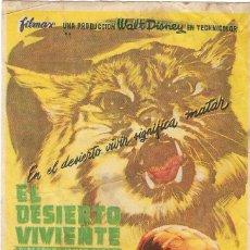 Cine: PROGRAMA DE CINE - EL DESIERTO VIVIENTE - WALT DISNEY - GRAN ALBÉNIZ (MÁLAGA) - 1953.. Lote 198467173