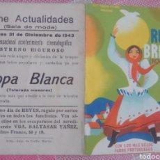 Foglietti di film di film antichi di cinema: PROGRAMA DE MANO DOBLE DE LA PELÍCULA ROPA BRANCA. Lote 198486945