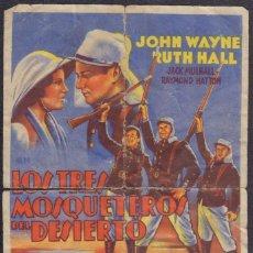 Cine: PROGRAMA SENCILLO DE LOS TRES MOSQUETEROS DEL DESIERTO (1933) - TEATRO ÁLVAREZ QUINTERO DE OSUNA. Lote 198731825