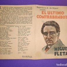 Cine: PROGRAMA DE CINE DOBLE, EL ULTIMO CONTRABANDISTA / MIGUEL FLETA. Lote 198734272