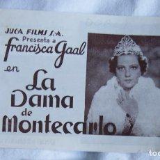 Cine: MUY RARO LA DAMA DE MONTECARLO FRANCISCA GAAL DOBLE AÑO 1939 S122. Lote 198742350