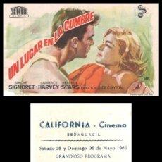 Cine: FOLLETO DE MANO, UN LUGAR EN LA CUMBRE, SIMONE SIGNORET, LAURENCE HARVEY Y HEATHER SEARS.. Lote 198750183