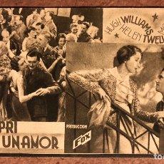 Cine: EN CAPRI NACIÓ UN AMOR POR HUGH WILLIAMS, MONA BARRIE Y HELEN TWELVETREES. FOX AÑOS 30. Lote 198764786