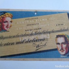 Cine: CIEN MIL DÓLARES. PELICULA ITALIANA. CADIZ, CINE MUNICIPAL. DICIEMBRE 1941.. Lote 198775313