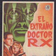 Cine: PROGRAMA SENCILLO DE EL EXTRAÑO DOCTOR RX (1942) - CINEMA VICTORIA DE SANT FELIU DE GUÍXOLS. Lote 198838875