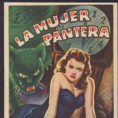 Cine: PROGRAMA SENCILLO DE LA MUJER PANTERA (1942) - CINE TEATRO CARMEN DE PALAMÓS. Lote 198839880