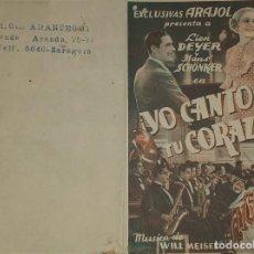 Cine: PROGRAMA DE CINE DOBLE. YO CANTO PARA MI CORAZON. EXCLUSIVAS ARAJOL. Lote 198921206