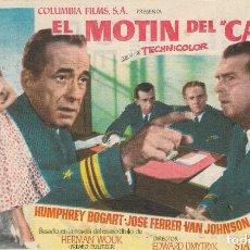 Cine: PROGRAMA DE CINE - EL MOTÍN DEL CAINE - HUMPHREY BOGART - GRAN TEATRO CERVANTES (MÁLAGA) - 1954.. Lote 199034903