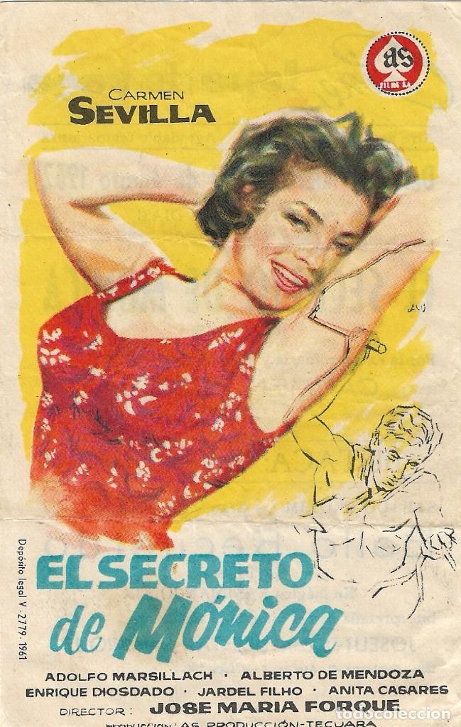 PROGRAMA DE CINE - EL SECRETO DE MÓNICA - CARMEN SEVILLA, ADOLFO MARSILLACH - CINE LOPE DE VEGA 1962 (Cine - Folletos de Mano - Musicales)