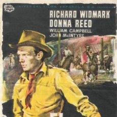 Flyers Publicitaires de films Anciens: PROGRAMA DE CINE - EL SEXTO FUGITIVO - RICHARD WIDMARK, DONNA REED - CINE GOYA (MÁLAGA) - 1956.. Lote 199140651