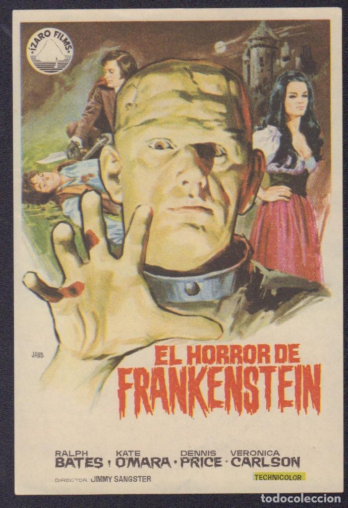 PROGRAMA SENCILLO DE EL HORROR DE FRANKENSTEIN (1973) - CINE VICTORIA (Cine - Folletos de Mano - Terror)