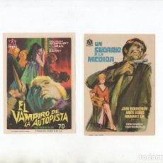 Cine: DOS PROGRAMAS DE MANO ORIGINALES DE SUSPENSE. Lote 199195321