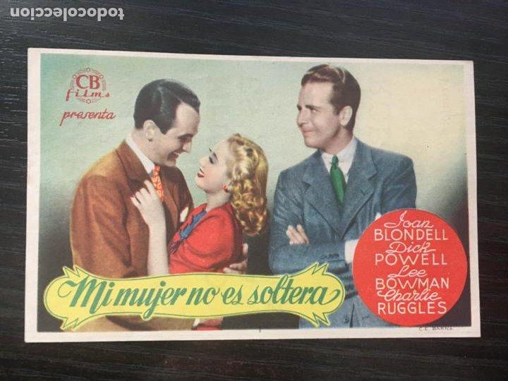 MI MUJER NO ES SOLTERA - PROGRAMA DE CINE - C/P BADALONA 1945 (Cine - Folletos de Mano - Comedia)