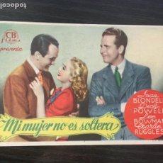 Folhetos de mão de filmes antigos de cinema: MI MUJER NO ES SOLTERA - PROGRAMA DE CINE - C/P BADALONA 1945. Lote 199227452