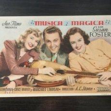 Cine: MÚSICA MÁGICA - PROGRAMA DE CINE BADALONA C/P 1959. Lote 199232210