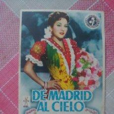Cine: MARÍA DE LOS ÁNGELES MORALES PROGRAMA DE MANO DE LA PELÍCULA DE MADRID AL CIELO. Lote 199244156