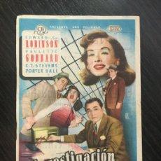 Cine: INVESTIGACIÓN CRIMINAL - PROGRAMA DE CINE - C/P BADALONA 1954. Lote 199326422