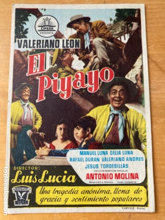 ANTIGUO PROGRAMA FOLLETO CINE EL PIYAYO (Cine - Folletos de Mano - Clásico Español)