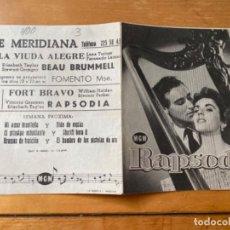 Cine: ANTIGUO PROGRAMA FOLLETO CINE RAPSODIA. Lote 199378835