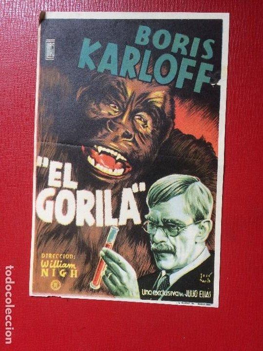 ANTIGUO FOLLETO MANO PELÍCULA EL GORILA B KARLOFF CINE ACTUALIDADES NOTICIARIO NO DO AÑOS 40 (Cine - Folletos de Mano - Terror)