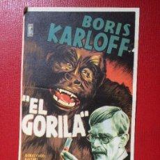 Cine: ANTIGUO FOLLETO MANO PELÍCULA EL GORILA B KARLOFF CINE ACTUALIDADES NOTICIARIO NO DO AÑOS 40. Lote 199502352