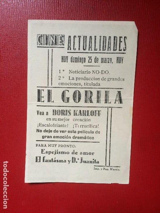 Cine: ANTIGUO FOLLETO MANO PELÍCULA EL GORILA B KARLOFF CINE ACTUALIDADES NOTICIARIO NO DO AÑOS 40 - Foto 2 - 199502352