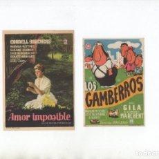 Cine: AMOR IMPOSIBLE-CORNELL BORCHERS, LOS GAMBERROS-GILA. Lote 199558555