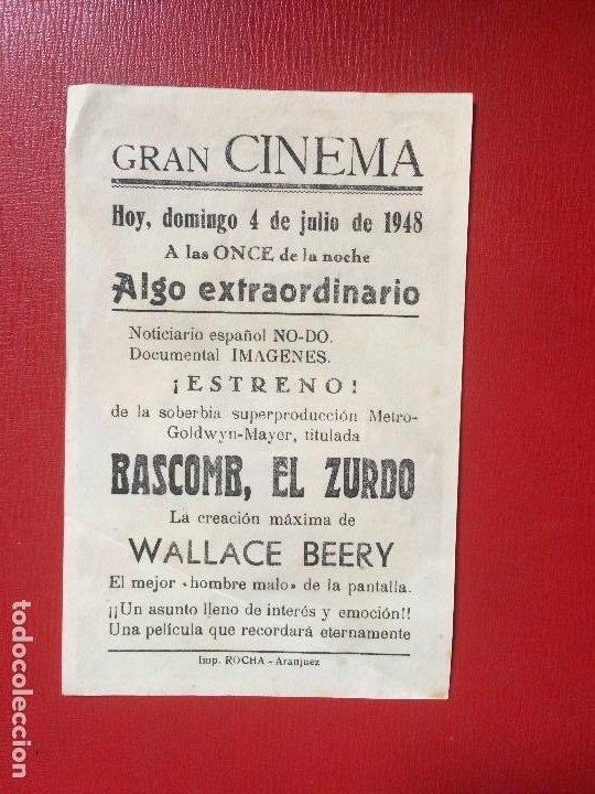 Cine: antiguo folleto película bascomb el zurdo w beery m o´brien gran cinema metro g mayer 1948 - Foto 2 - 199640643
